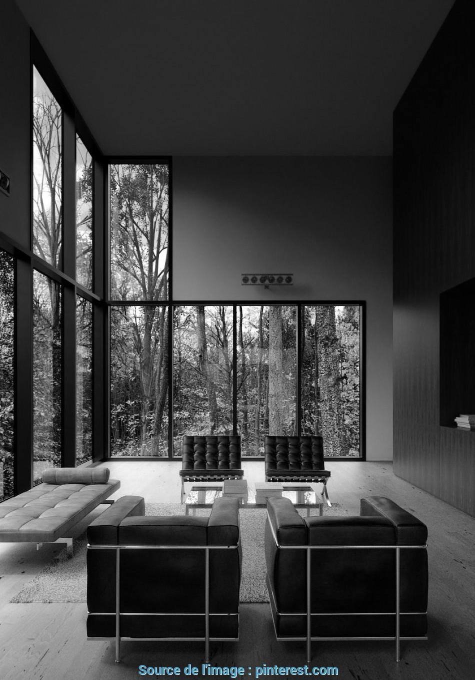 Lussuoso Living Room With 2, Of Mies, Der Rohe Barcelona Chair, Le Corbusier, Armchair I Graticule House, Interiors