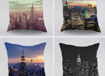 Bello New York City View Alba Modello In Cotone Cuscino, Auto A Casa Divano Empire State Building Design Dark Night Pillw Caso In, York City View Alba
