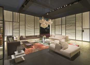 Dettaglio Living Divani Booth, Salone, Mobile 2014 Wall Cladding, Salon Interior Design, Lobbies