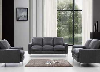 Speciale Divani Casa Empire Modern Dark Grey Leather Sofa Set