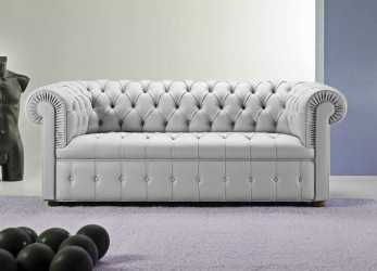 Elegante Chesterfield Sofa / Leather / 3-Seater / Gray -, CHESTER