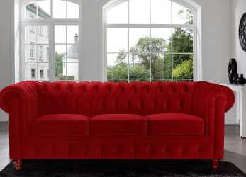 Lussuoso Amazon.Com: Divano Roma Furniture Velvet Scroll, Tufted Button Chesterfield Style Sofa, Red: Kitchen & Dining