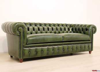 Superiore Divano Chesterfield Vintage In Pelle Verde Inglese, Chesterfield