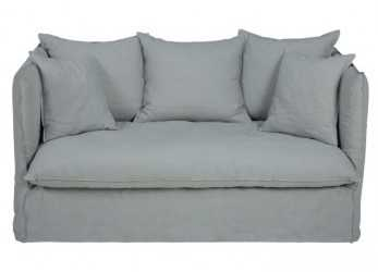 I Più Nuovi Light Grey 2-Seater Washed Linen Sofa Bed