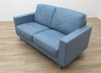 Bello Poltrona Frau Blue Leather Executive Office Sofa
