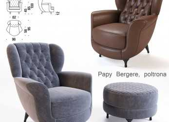 Esotico Moroso Papy Bergere Armchair, 3D Model