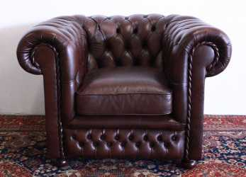 Semplice Chesterfield Club Armchair In Original Brown Leather Made In The