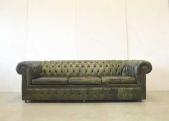 Magnifico English Green Leather Chesterfield Sofa, 1970S, Sale At