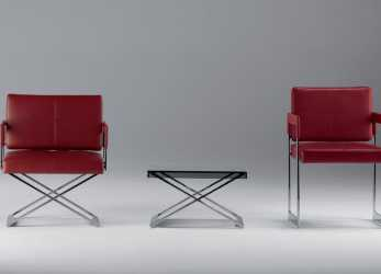 Ideale Contemporary Armchair / Leather / Steel / With Footrest, ASTER X