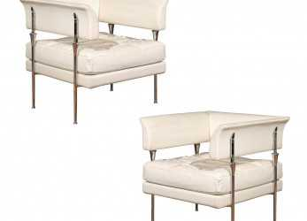 Speciale Pair Of Italian Poltrona Frau Hydra Chairs, In Pelle Leather By Luca Scacchetti
