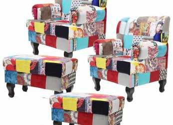 Freddo Kit 02 Poltronas + 02 Puffs Anastacya Patchwork Decorativa. Carregando Zoom