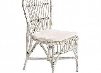Ideale Sedia Rattan Bianco Shabby Chic, Mobil Shabby Chic Etnico Outlet