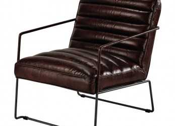 Superiore Leather Armchair In Brown Pearl