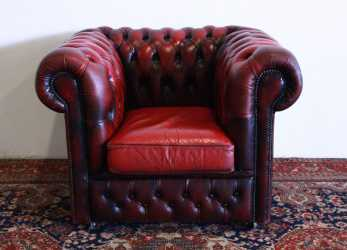 Bello Poltrona Club Chesterfield Originale Made In, Modello Club In Pelle Bordeaux