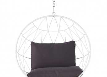 Stupefacente Hanging Garden Armchair In White Metal With Grey Cushions Palaos