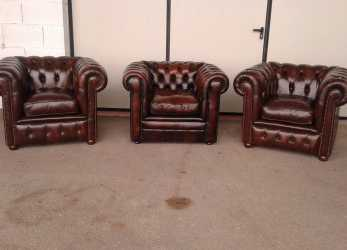 Premio Poltrone Chesterfield Vintage Originali In Pelle