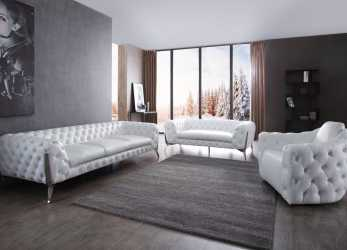 Dettaglio Divani Casa Catania Transitional White Leatherette & Stainless Steel Sofa Set