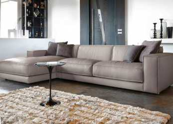 Perfezionare Contemporary Sofa With Leather Chaise Longue