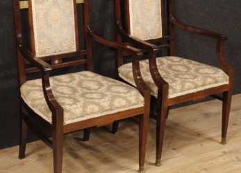 Fresco Details About Armchairs French Couple Chairs, Deco Furniture Living Room Wood Mahogany