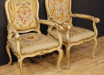 Più Recente Details About Couple Armchairs Lacquered Furniture Chairs Italian Wood Antique Style Louis XV