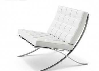 Unico Leather Barcelona Chair In White Modern Classic Design Chair Stainless Steel Frame With Ottoman, Living Room -, Leisure Chair,Lounge Chair With