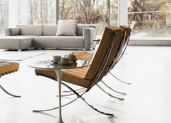 Premio Knoll Barcelona Chairs In Room With Saarinen Side Table, Barber Osgerby Sofa