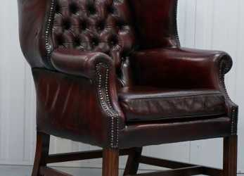 Eccezionale Details About RESTORED HAND DYED 60'S OXBLOOD LEATHER CHESTERFIELD GEORGIAN WINGBACK ARMCHAIR