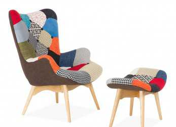 Superiore FREATHER Chair, Ottoman PATCHWORK (Design Icon Chairs)