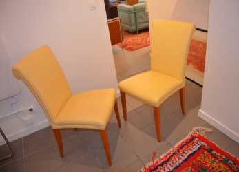 Speciale Vintage Vittoria Yellow Leather Chairs From Poltrona Frau,, Of 6