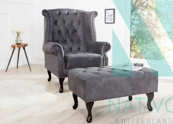 Semplice ... Poltrona Relax CHESTERFIELD GREY. Designer Relaxsessel CHEASTER GREY. Designer Relaxsessel CHEASTER GREY