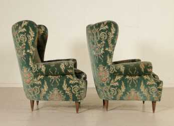 Semplice Bergere Armchairs Velvet Upholstery Vintage Italy 1950S